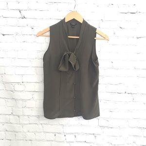 Ann Taylor Olive Silk Tie Neck Pleat Button Shirt